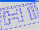 3D wireframe rendering of a maze with the walls forming the letters 'H' and 'I'