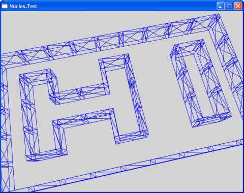 Screenshot of a wireframe mesh showing a maze forming the letters H I