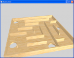 Image of a wooden maze with realistic lighting but no cast shadows