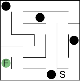 Schematic of a maze with traps in it