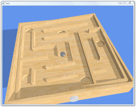 Screenshot of a tilted wooden maze with a ball in it