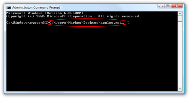 Screenshot of the command to lauch AppLoc.msi being entered in a DOS box