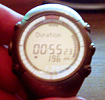 My watch showing an average heart rate of 196 BPM for 55 minutes