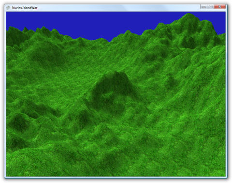 Screenshot of a height-mapped terrain with lighting and textures