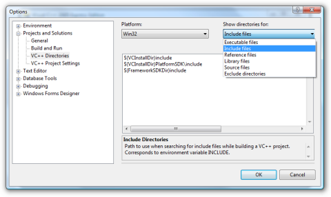 Screenshot of the dialog used to configure the include directories in Visual C++ 2005