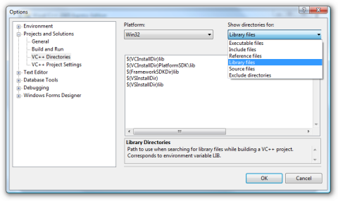 Screenshot of the dialog used to configure the library directories in Visual C++ 2005