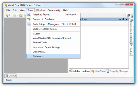 Screenshot of the options menu in Visual C++ 2005 Express with the settings entry selected