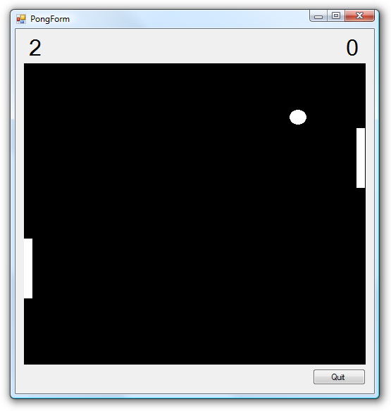 An XNA-based pong clone running inside a Windows.Forms application