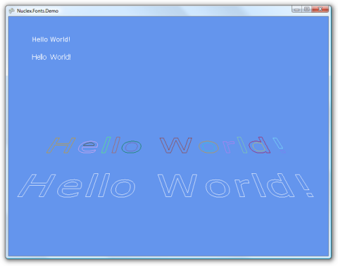 Screenshot of vector fonts rendered as outlines in 3D