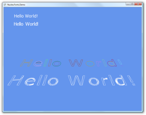 Screenshot of vector fonts rendered as 3D faces in wireframe mode
