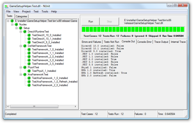 Screenshot of the NUnit GUI running some tests  detecting whether XNA framework is installed