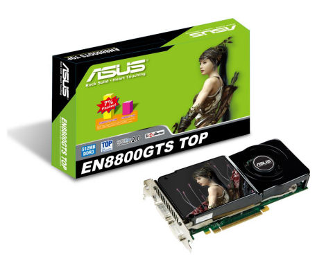 An Asus EN8800GTS TOP graphics card in front of its package