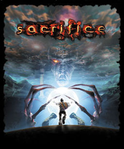 The game's box showing the hero standing in a white light being held by two claw-like hands
