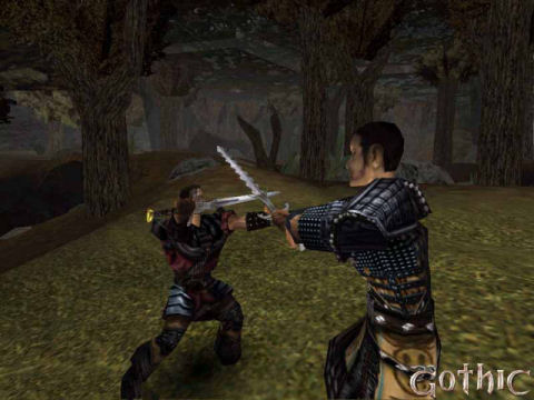 Screenshot from the first Gothic game showing two warriors dueling with swords