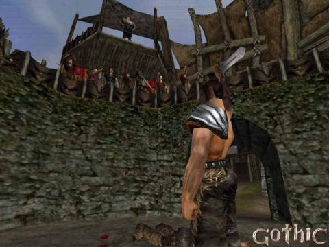 Screenshot from the first Gothic game showing a warrior who just won an arena fight