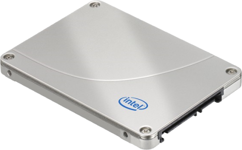 Photo of an Intel X25-M SSD drive, which is a metal box smaller than a CD case