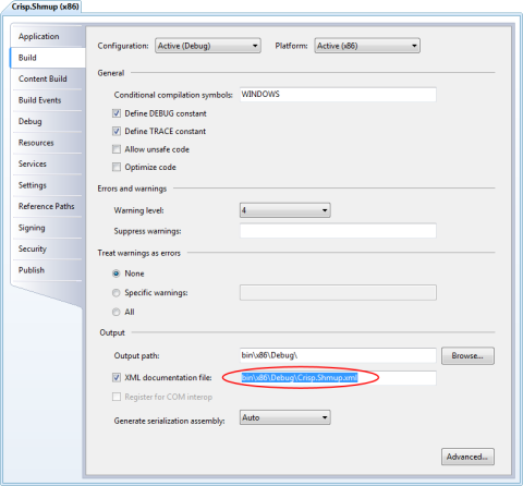 Image of the Visual C# project settings dialog with XML documentation enabled