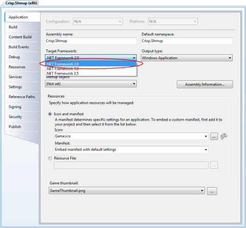 Image of the Visual C# project settings dialog with .NET 2.0 selected