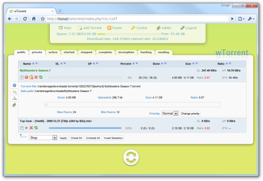 Screenshot of the wTorrent web frontend for rTorrent