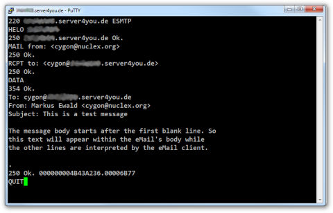 Screenshot of PuTTY manually submitting an email to an SMTP server via telnet