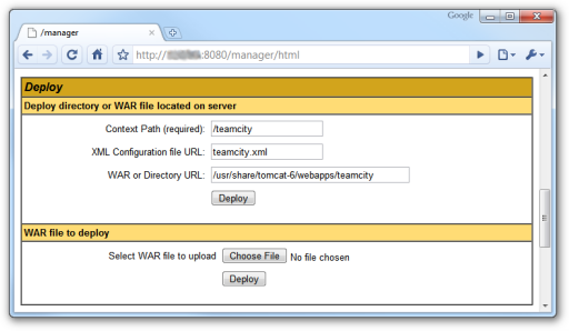 Screenshot depicting the 'deploy webapp' frame in the TomCat manager