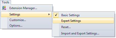 Picture of Visual Studio's Tools menu with the Settings submenu expanded
