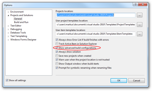 Visual Studio's options dialog showing the Projects and Solutions page