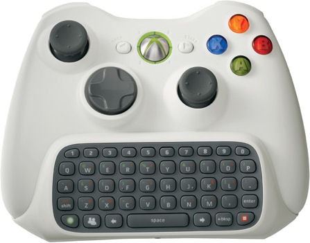 Picture of a little keyboard attached to an XBox 360 controller