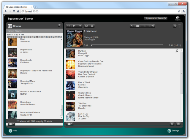The Squeezebox Server interface with a list of albums on the left and my playlist on the right