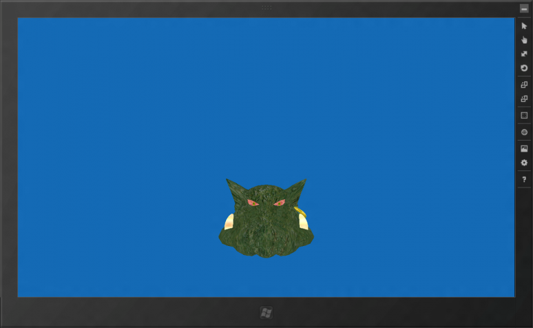 Screenshot of my Minimal Ogre Application running in the WinRT/Metro Simulator