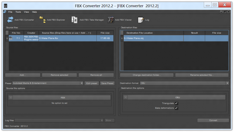 Autodesk FBX Converter with Unity's standard water plane mesh loaded