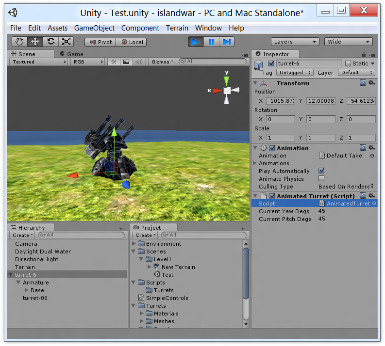 Screenshot of Unity using my script to pose a turret