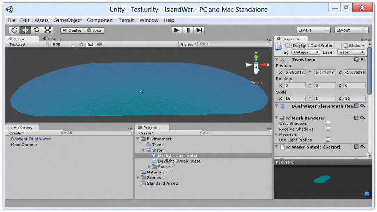 Unity editor with default water effect now using the elongated water plane