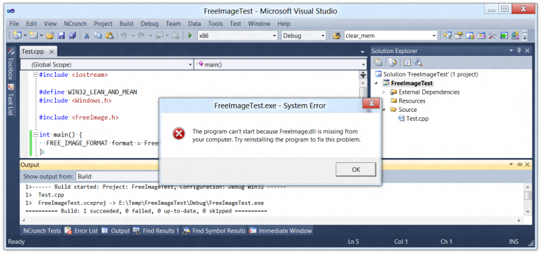 Screenshot of Visual C++ with Windows complaining about a missing DLL