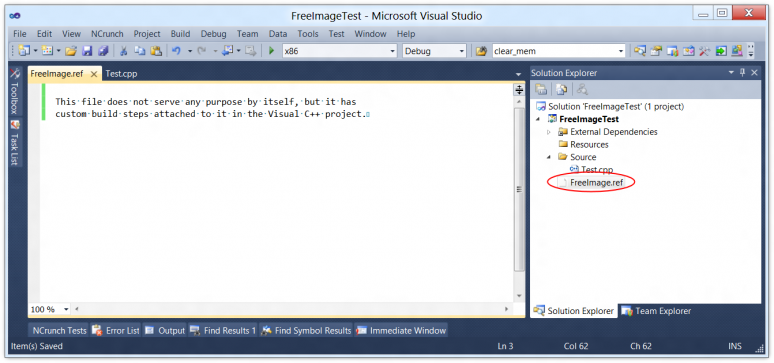 Screenshot of Visual C++ with a Ref file for FreeImage added to the project