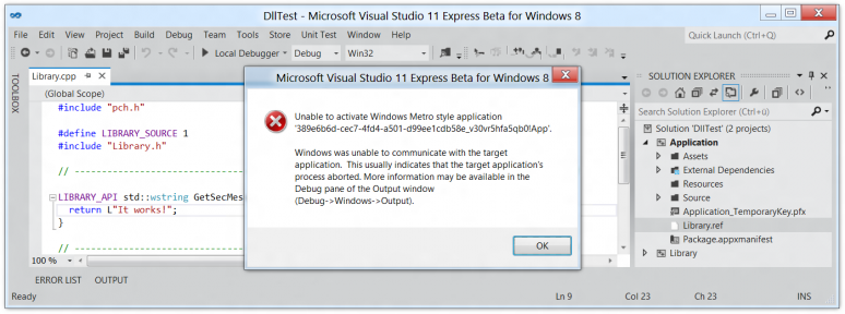 Screenshot of Visual Studio 11 reporting an activation error on a WinRT/Metro application