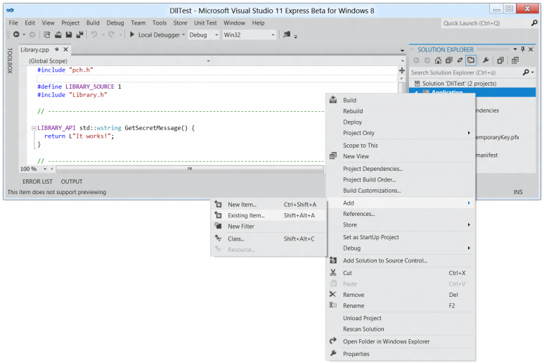 Screenshot of the context menu used to add existing items to a project in Visual Studio 11