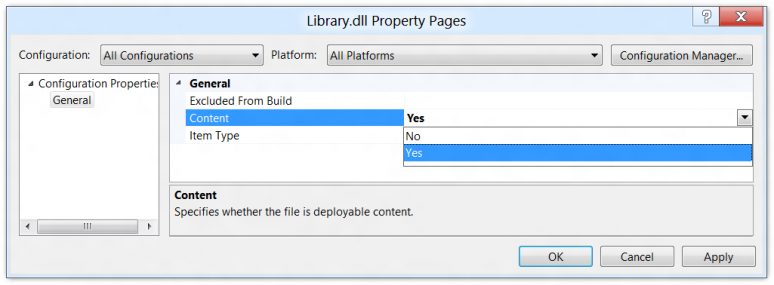 Screenshot of the deployable content property for a file in a Visual Studio 11 project