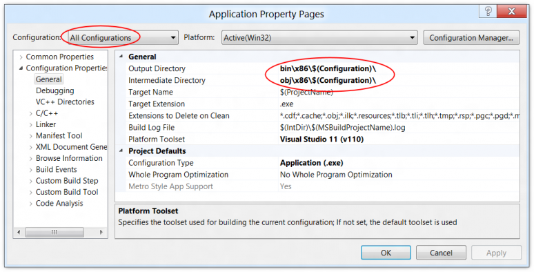 Screenshot showing where to find the output directory setting in a Visual Studio 11 project