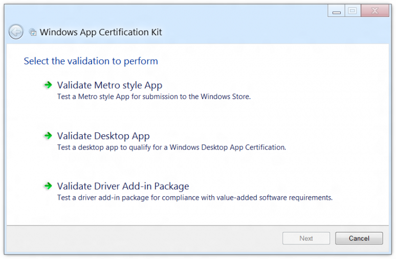 Screenshot of the main dialog of the Windows App Certification Kit (ACK)