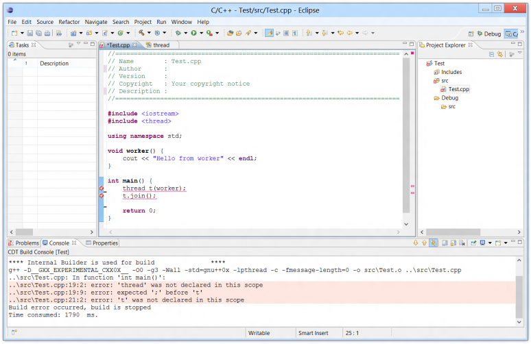 Screenshot of the Eclipse IDE compiling a C++ project using MingW