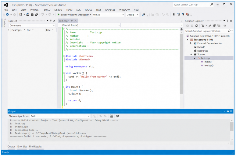 Screenshot of Visual Studio 2012 RC compiling a C++11 project