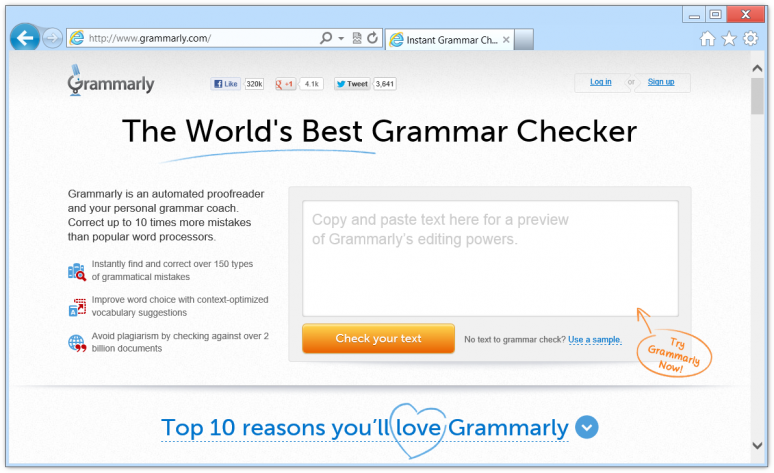 Screenshot of the front page of the Grammarly website in Internet Explorer