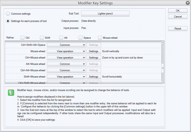 Editing Modifier Keys in Manga Studio