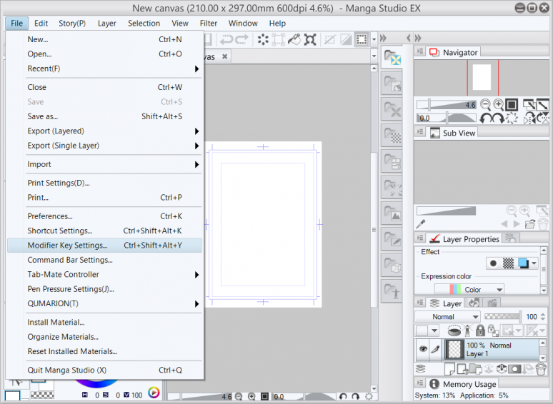 Settings in Manga Studio's Menu