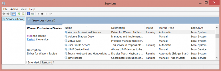 Wacom Service in the Services Manager