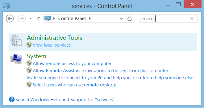 Local Services in the Windows Control Panel