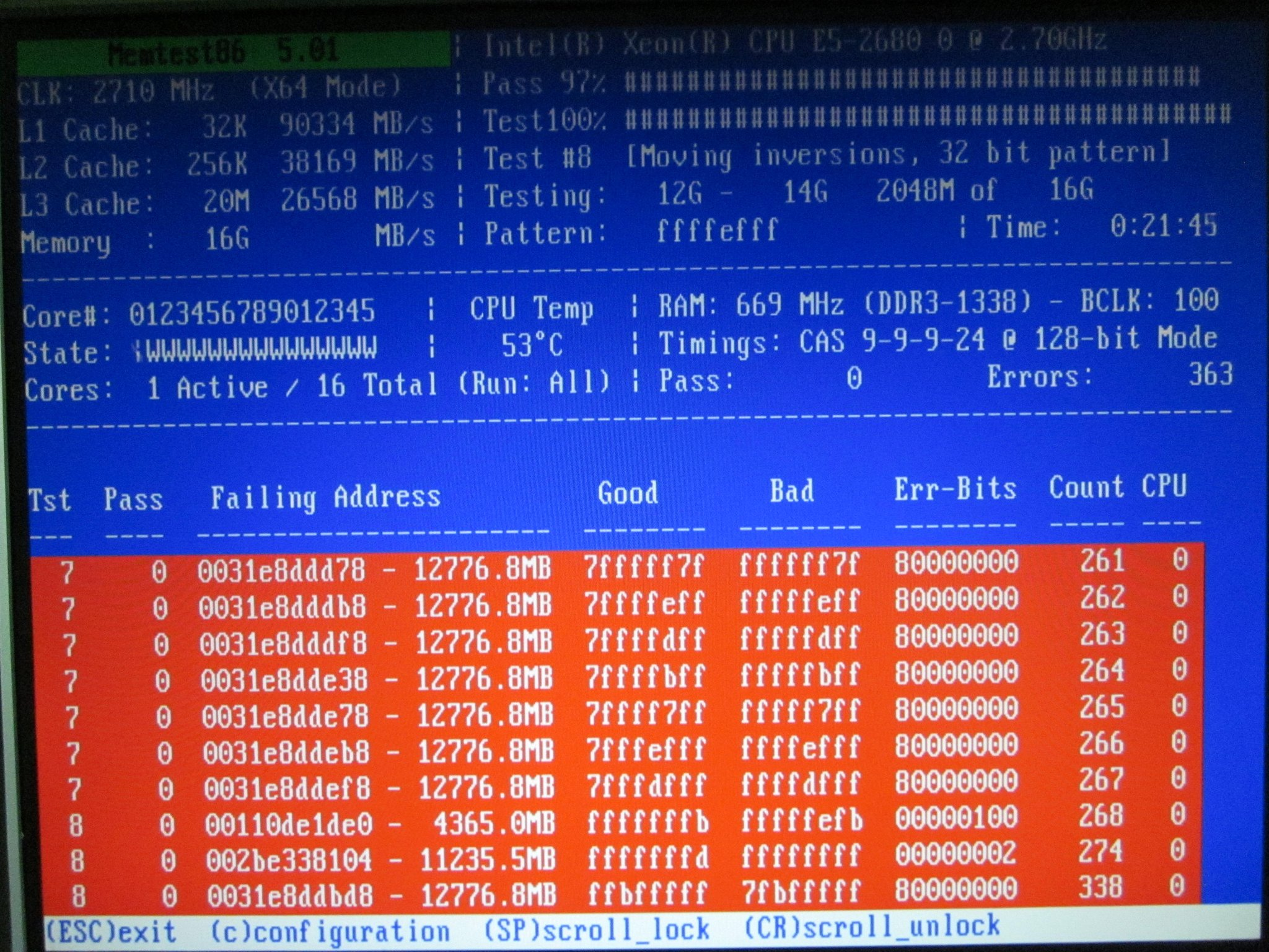 Screenshot of memtest86+ showing over 350 memory errors