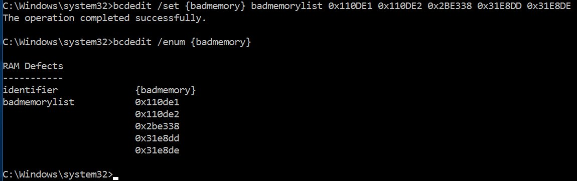 Screenshot of bcdedit listing entries in the badmemory record