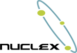 "Logo of the Nuclex Framework, the text ""Nuclex"" with three green dots on a blue ring"